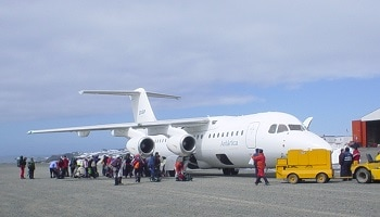 Boarding BAE-146 aircraft King George Island