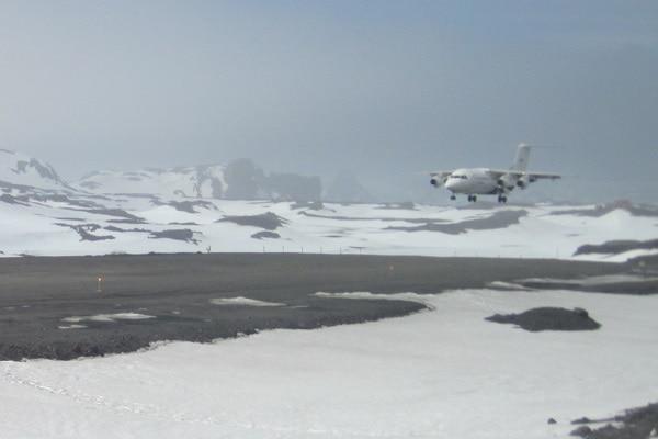 Landing at King George Island air strip Antarctic Peninsula