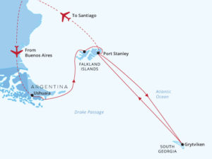 National Geographic Explorer South Georgia and Falklands Map