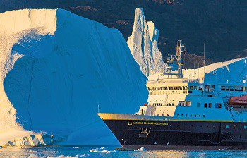 Expedition ship, National Geographic Explorer, icebergs, Scorsby Sound, Greenland