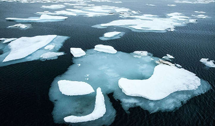 Sea ice in Larsen Sound Northwest Passage Canadian High Arctic
