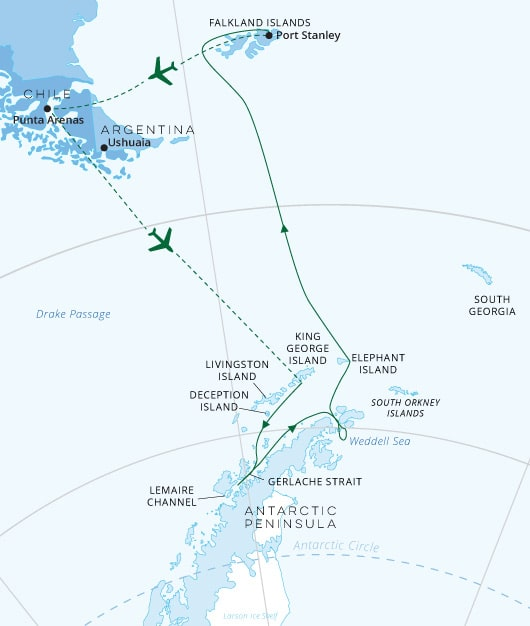Ultimate Antarctica Itinerary Map