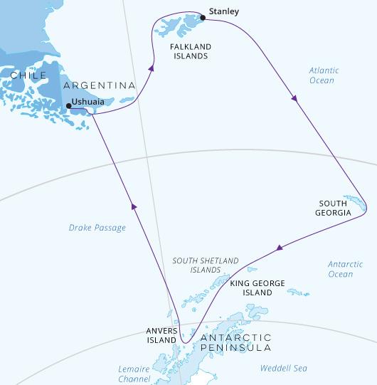 Falklands, South Georgia, Antarctic Map World Explorer