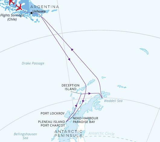 Ponant Emblematic Antarctica with Santiago Flight