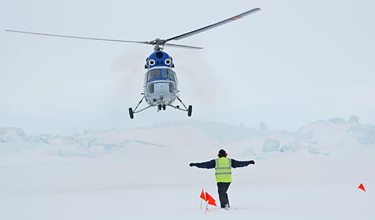 Helicopter Landing at Snow Hill Emperor Penguin Colony