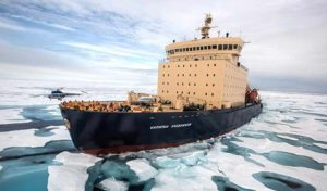 Kapitan Khlebnikov on its way to visit the Emperor Penguins on Snow Hill