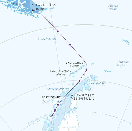 Across the Antarctic Circle map Greg Mortimer