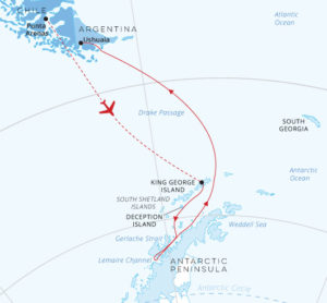 Antarctic Explorer fly South cruise North map Greg Mortimer