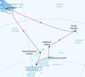 Silver Cloud Antarctica South Georgia map