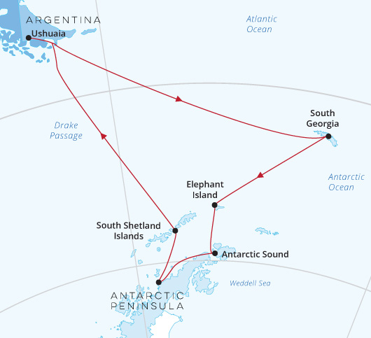 Silver Cloud Antarctica South Georgia map