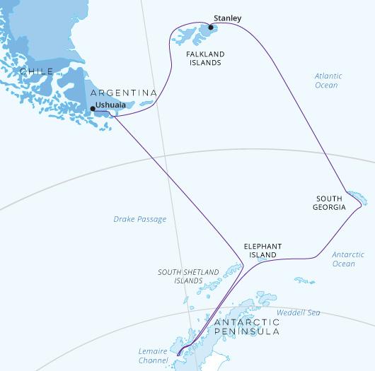 South Georgia Antarctic Odyssey map Greg Mortimer