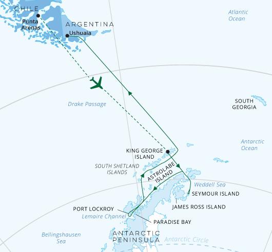Wild Antarctica map Greg Mortimer
