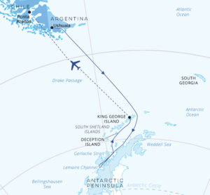 Antarctic Explorer Cruise South fly North map Greg Mortimer