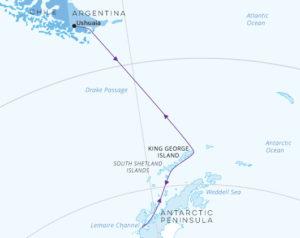 Christmas in Antarctica map Greg Mortimer
