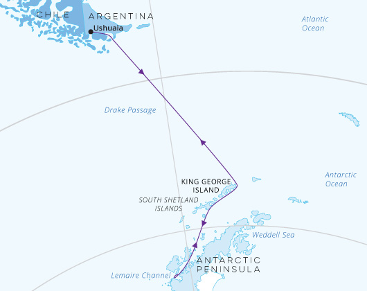 Christmas in Antarctica map Greg Mortimer