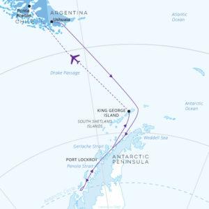 Crossing Antarctic Circle fly North map Greg Mortimer