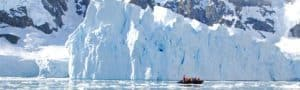 Zodiac and icebergs Antarctica