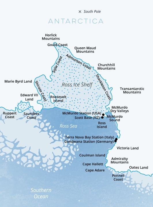 Detailed ross sea map
