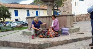 Peruvian shopping Cusco by Elaine Pulleine