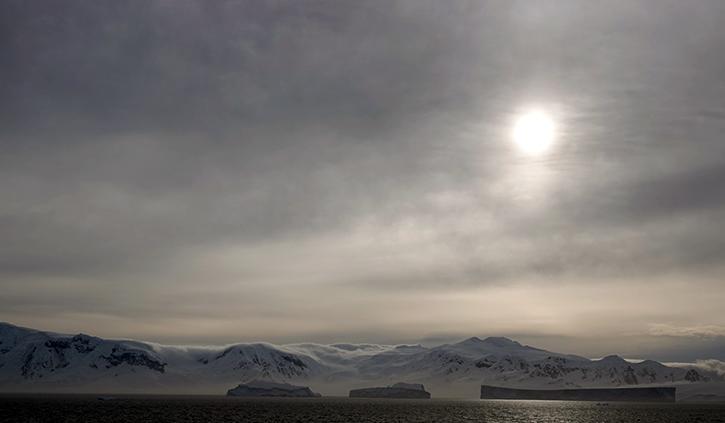 Antarctica Sun shining through