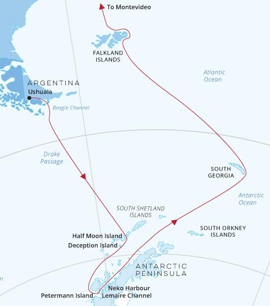 Antarctica, South Georgia, Falklands, Montevideo