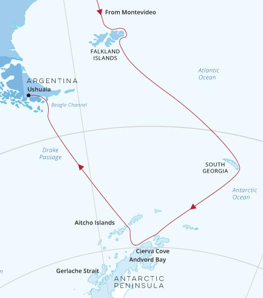 Montevideo Falklands, South Georgia Antarctica map
