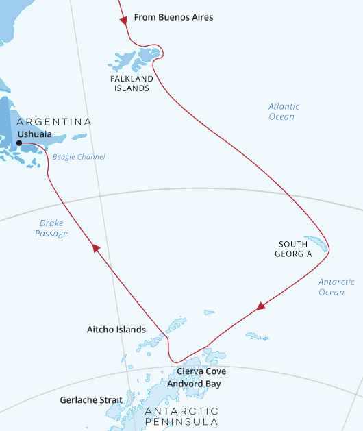 Sea Spirit Antarctica, South Georgia, Falkland Islands from Buenos Aires