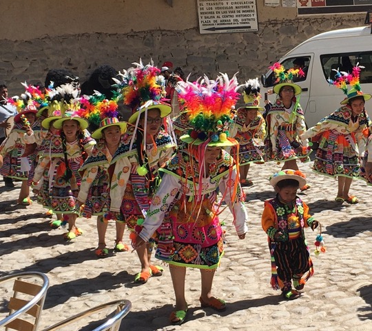 Farmers Saints Day Procession in Ollentaytambo, Peru by Rosemary Clark