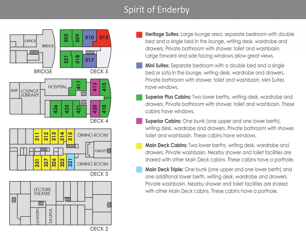 Deck Plan Spirit of Enderby