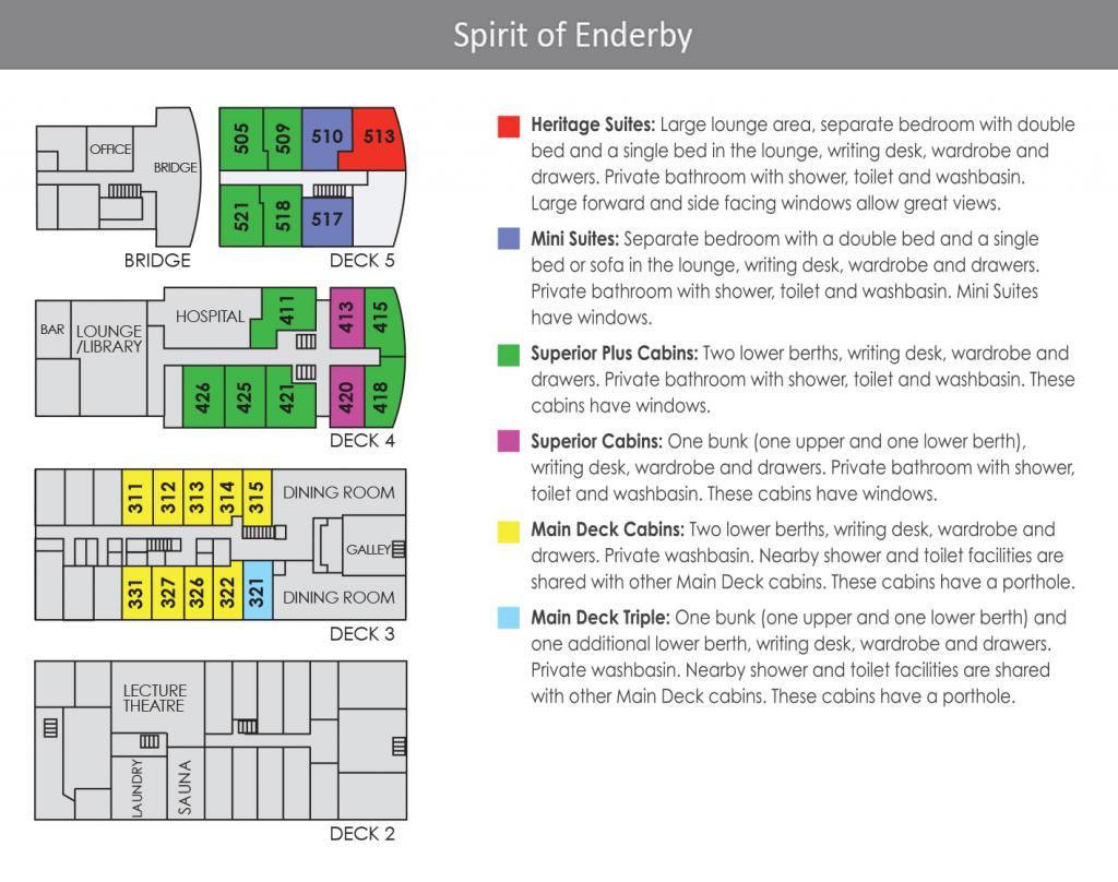 Deck Plan Spirit of Enderby