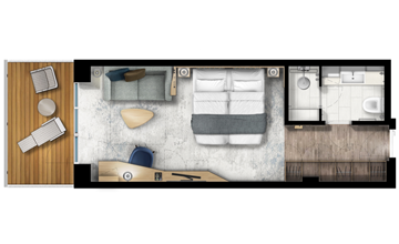 Ultramarine balcony suite floor plan