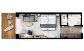 Ultramarine balcony suite floor plan