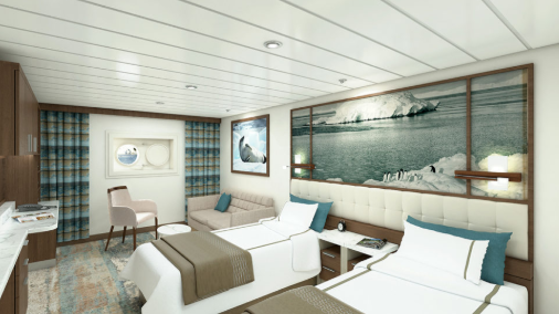 Sylvia Earle - Aurora Stateroom Twin - Render