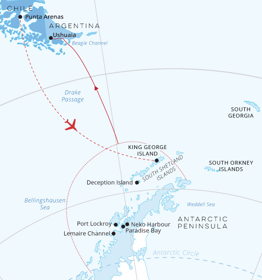 Crossing the Arctic Circle Fly South Map